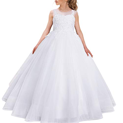 White Lace Ball Gown Pageant Dresses for Girls Floor Length Flower Puffy Tulle Prom Wedding Birthday Party ()