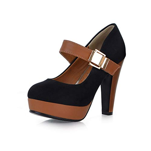 WEUIE Womens Mary Jane Dress Pumps - Vintage High Heels Round Toe Platform Shoes with Ankle - Janes Womens Journey Mary