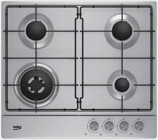 Placa de cocina 4 fuegos de gas de 60 cm color acero ...