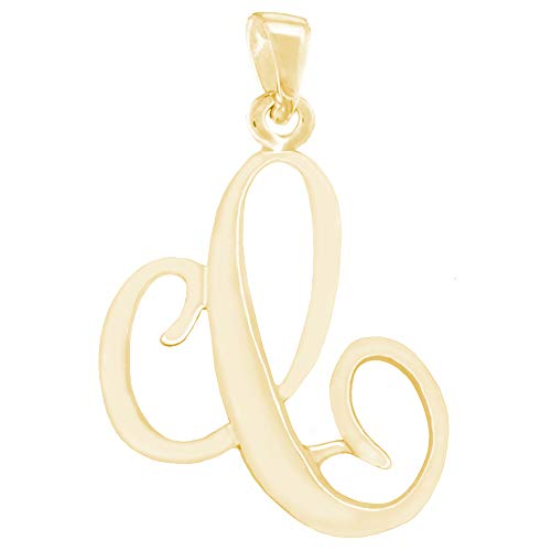 CloseoutWarehouse Yellow Gold-Tone Plated Silver Letter C Classic Script Initial Pendant (Letters A-Z Available) ()