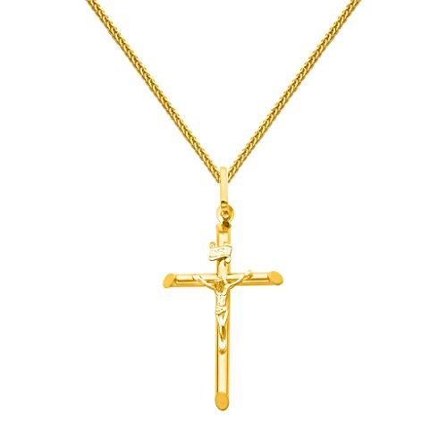Gold Square Crucifix (The World Jewelry Center 14k Yellow Gold Crucifix Cross Pendant 1mm Braided Square Wheat Chain Necklace - 24