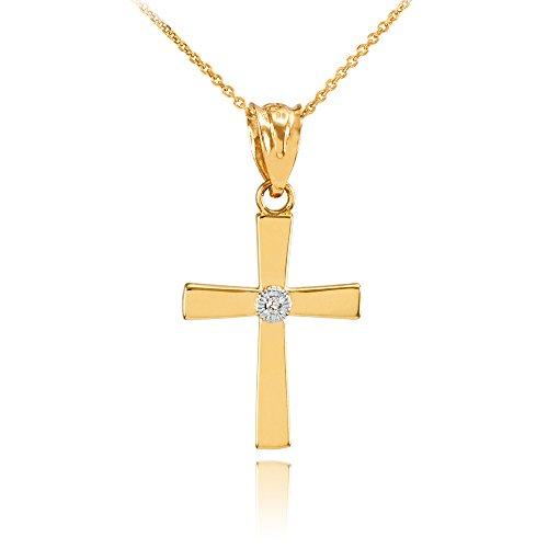 Collier Femme Pendentif Poli 14 Ct Or Jaune Diamant Croix Charme (Livré avec une 45cm Chaîne)