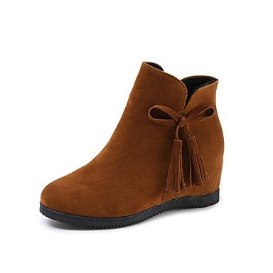 Boots Round Fall Brown Boots US8 EU39 Heel Red Suede Bowknot Casual Toe CN40 For Black UK6 Women's 5 5 Flat RTRY Combat Shoes TwZYtnqXz