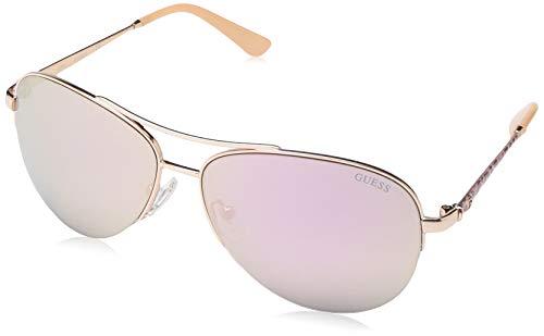 (GUESS Women's Gu7468 Aviator Sunglasses, shiny rose gold & smoke mirror, 59 mm)