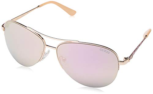 Sunglasses Guess Gold - GUESS Women's Gu7468 Aviator Sunglasses, shiny rose gold & smoke mirror, 59 mm
