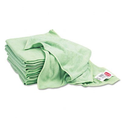 Rubbermaid Commercial Q620 Reusable Cleaning Cloths Microfiber 16 x 16 Green 12/Carton
