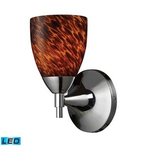 Elk Lighting Polished Chrome / Espresso Glass Celina 1 Light LED Wall Sconce ...
