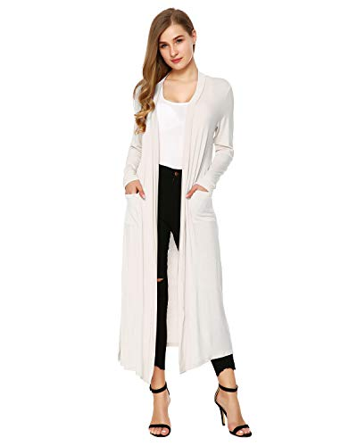 Duster Open Front - Mixfeer Womens Long Sleeve Open Front Long Maxi Cardigan Longline Duster Coat