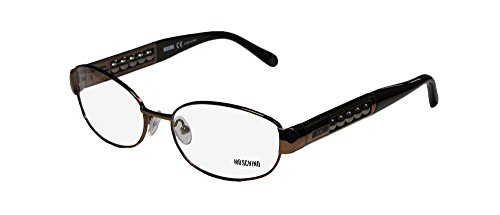 Moschino 06603 Womens/Ladies Designer Full-rim Eyeglasses/Eyewear (53-16-135, Shiny Dark Brown) (Moschino Womens Eyeglasses)