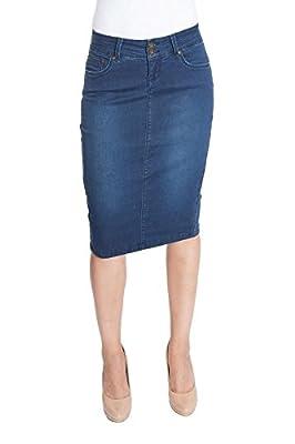Esteez Women's Denim Pencil Skirt – Knee Length - Tummy Control - Stretch Jean - Beverly Hills