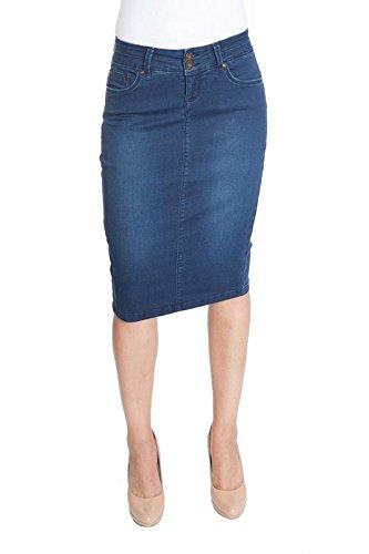 Esteez Womens Knee Length Stretch Denim Tummy Control Jean Skirt Beverly Hills
