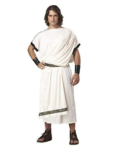 Roman Halloween Costumes Men (California Costumes Men's Deluxe Classic Toga Set, White, One)
