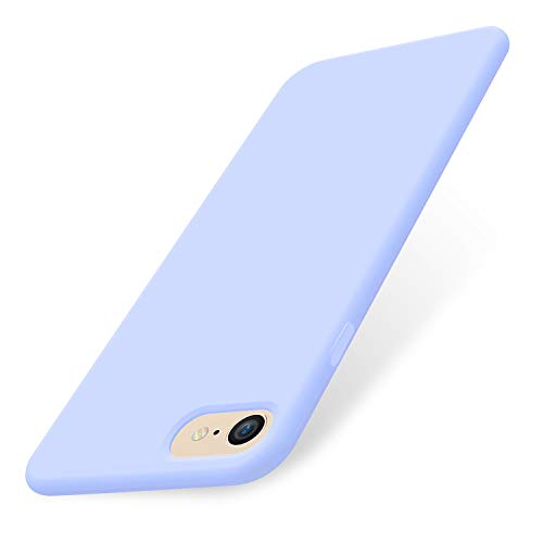 (AOWIN iPhone 8 Case/iPhone 7 Case, Liquid Silicone Gel Rubber Phone Cover Soft Cases Compatible with iPhone 8 / iPhone 7 - Light Blue)