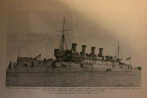 (1899 Vintage Magazine Illustration Protected Cruiser Columbia Spanish War)