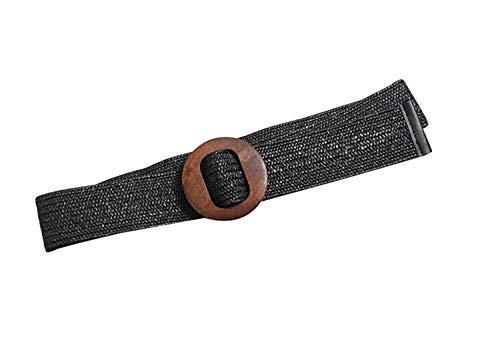 Women's Summer Straw Wide Waistband Wood Buckle Elastic Casual Adjustable Belt (Black)