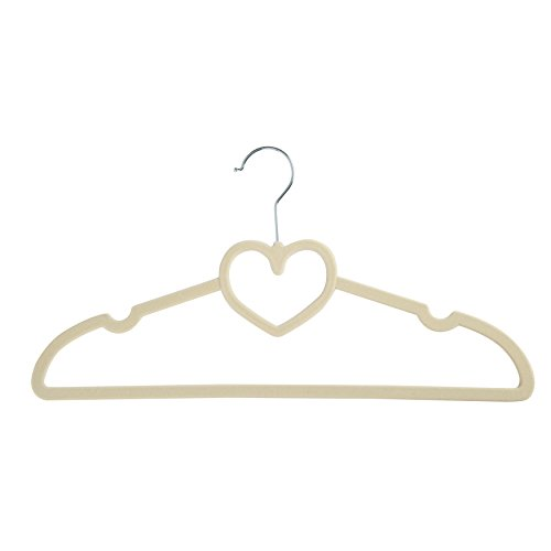 Finnhomy LOVE Heavy Duty 30 Pack Clothes Hangers with 10 Sturdy Multiple Use Finger Clips, Durable Slim-Line Velvet Hangers,Heart Shaped,Adult Size,Beige