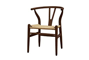 Baxton Studio Wishbone Chair, Dark Brown Wood Y Chair