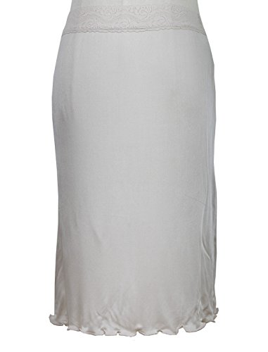 Women's 100% Pure Mulberry Silk Slip Charmeuse Nightgown Half Slip (Beige, XL) (Silk Half Slip)