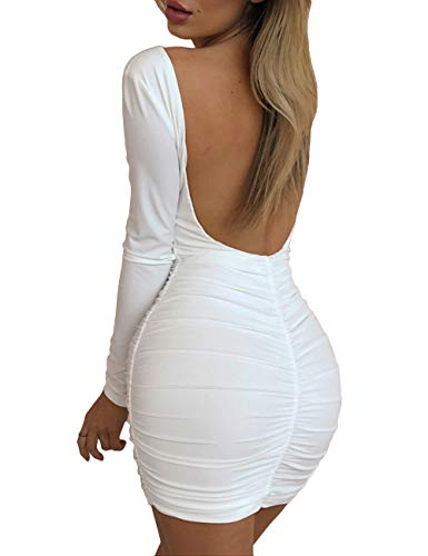 navvour Women's Backless Long Sleeve Ruched Bodycon Solid Casual Club Mini Dress White ()