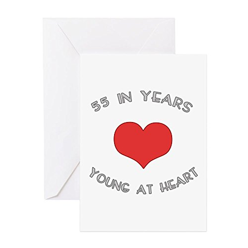 CafePress - 55 Young At Heart Birthday - Greeting Card, Note Card, Birthday Card, Blank Inside Glossy (Card 55th Birthday)