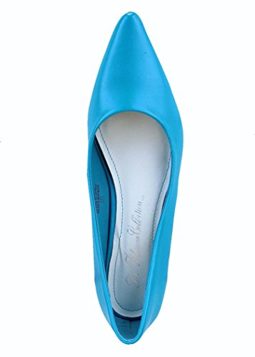 Nasco Chaussures Femme Slip On Pointe Talon Bas Pompes Turq
