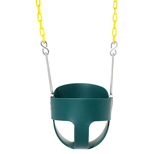 Wiplay Full Bucket Toddler Swing High Back Green Swing Seat with Coated Chains for Garden or Backyard Tree Kids Safe Hanging Swing Seat Chair (Swing Seats Garden)