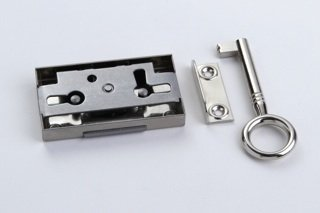 1 Schrankschloss Möbelschloss Aufschraubschloss Metall vernickelt 15mm mit Schlüssel