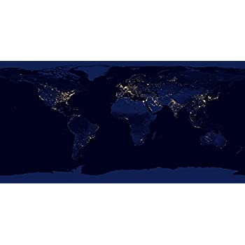 Amazon flat map of earth showing city lights of the world at flat map of earth showing city lights of the world at night poster print 40 gumiabroncs Gallery