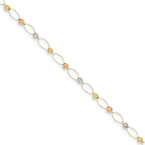 Roy Rose Jewelry 14K Yellow Gold Tri-color Oval Link Two-tone Mirror Beads Bracelet ~ Length 7.5'' inches