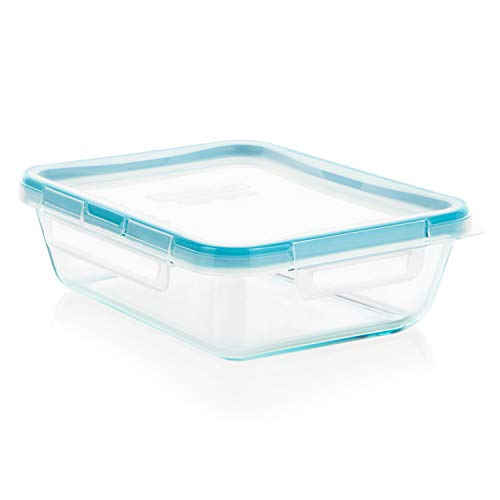 Snapware 6-Cup Total Solution Rectangle Food Storage Container, Glass 6 Cup Rectangle Storage