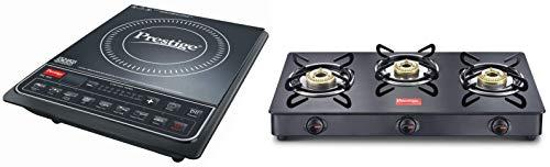 Prestige PIC 16.0+ 1900- Watt Induction Cooktop with Push Button (Black) + Prestige IRIS LPG Gas Stove, 3 Burner, Black