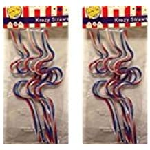 Patriotic Drinking Krazy Straws in Red, White, Blue and Clear, great for 4th of July