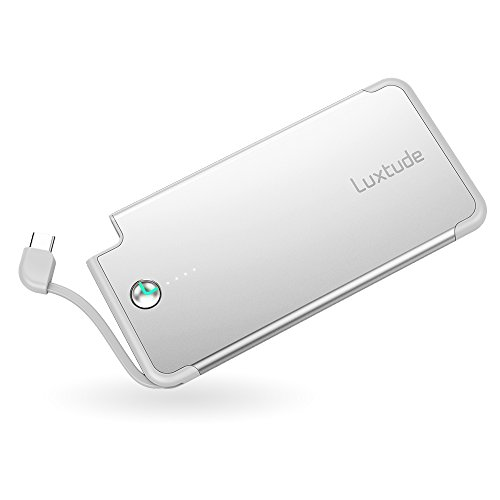 Luxtude 5000mAh Ultra-Slim Gift Portable Charger, Built-in USB C Cable Power Bank, Stylish Quick-Charging External Battery Compatible with Samsung Galaxy, LG, Pixel and More Type-C Android Device