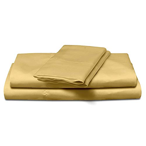 (4-Piece Super Soft Silky Satin Bed Sheet Set, Multiple Colors (King, Bronze))