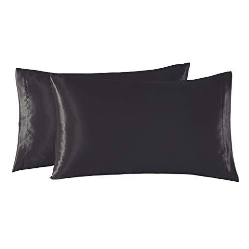 EXQ Home Satin Pillowcases Set of 2 for Hair and Skin Standard/Queen Size 20x30 Black Pillow Case with Envelope Closure (Anti Wrinkle,Hypoallergenic,Wash-Resistant)