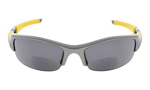 Eyekepper TR90 Unbreakable Sports Polycarbonate Half-Rimless Polarized Bifocal Sunglasses Baseball Running Fishing Driving Golf Softball Hiking Reading Glasses Grey Frame Grey Lens +3.5