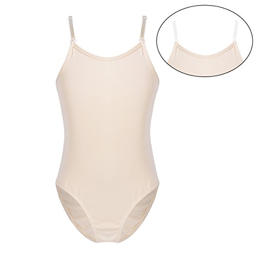 YiZYiF Big Girls' Camisole Tank Gymnastics Ballet Underwear Leotards with Adjustable Nude+Clear Straps Nude 10-12
