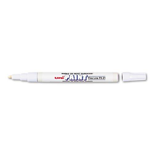 Uni-Paint PX-21 Oil-Based Paint Marker, Fine Point, White, 1-Count