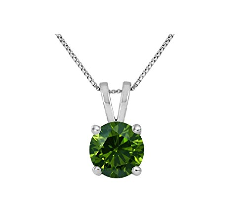Green Diamond Solitaire (PARIKHS Round Green Diamond Solitaire Pendant AAA Quality in 14K White Gold (0.10)