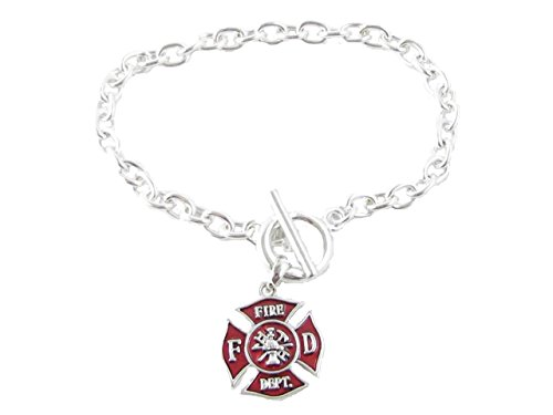 Sports Accessory Store Fireman Small Red Maltese Cross Silver Toggle Bracelet Firefighter Fire Gift