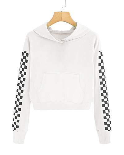 Imily Bela Kids Crop Tops Girls Hoodies Cute Plaid Long Sleeve Fashion Sweatshirts (10-12 Years/Height:55in, Z2-White) -