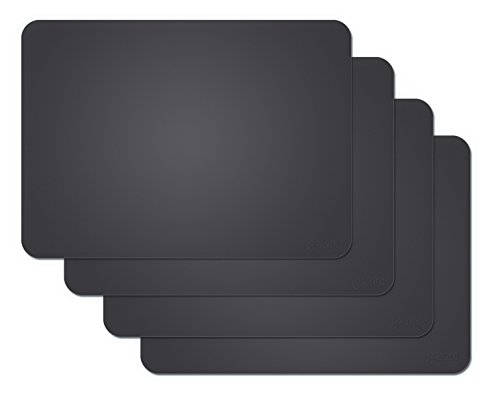 Gasare, Silicone Placemats, Kids Placemats, Non-slip Waterproof, Very Flexible Silicone, Assorted Colors, Size 16 x 12 Inches, Set of 4,Black