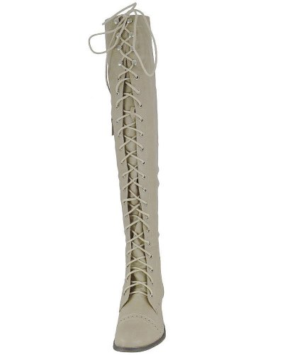 Breckelles Alabama-12 Mujeres Elástico Sobre La Rodilla Bota De Combate Con Cordones Con Cremallera Alta, Color: Beige, Tamaño: 6