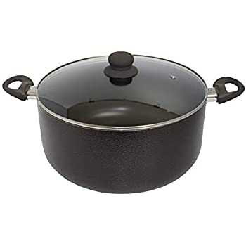 IMUSA USA TAD-91623 10Qt Nonstick Hammered Exterior Dutch Oven with Glass Lid