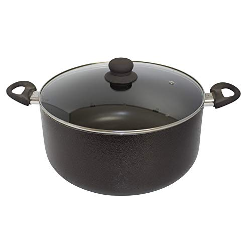 IMUSA USA TAD-91623 10Qt Nonstick Hammered Exterior Dutch Oven with Glass Lid ()