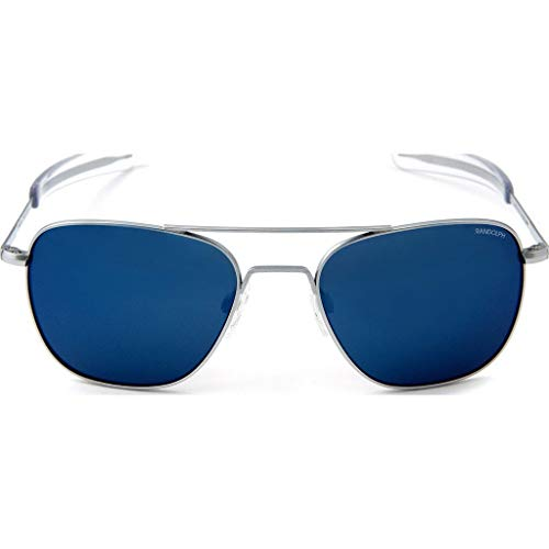 Randolph Engineering Aviator Matte Chrome Sunglasses | Blue Sky PC Bayonet - 55mm