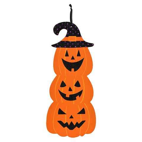 Pumpkin Door - Greenbriar International Halloween Pumpkins Wooden Wall Hanging Door Decor 18 x 8 Inches