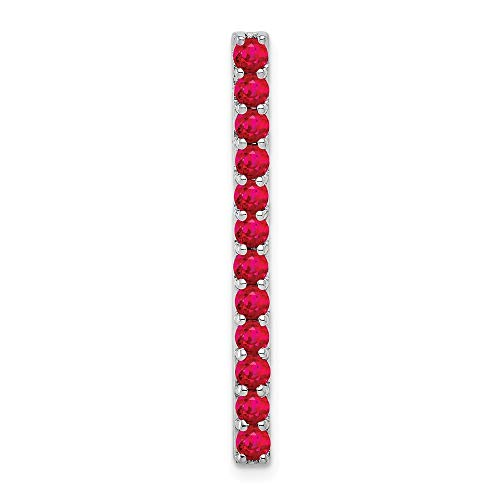 14k White Gold 3/4-Carat Ruby Line Chain Slide Pendant from Roy Rose Jewelry (14k Ruby Slide)