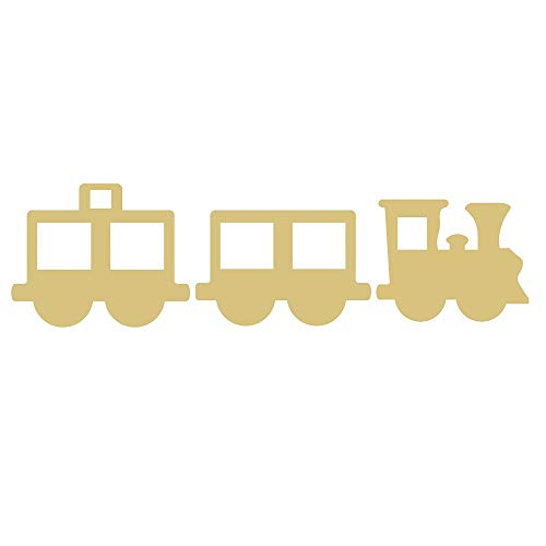 (Train Set Cutout Unfinished Wood Locomotive Railroad Western Industrial MDF Shape Canvas Style 1 (12