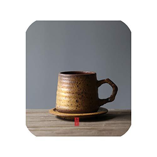 (300ml Pure Handmade Ceramic Rough Pottery Coffee Cup Saucer Black Tea Milk Cup Mug Drinkware with Spoon,YELLOW)